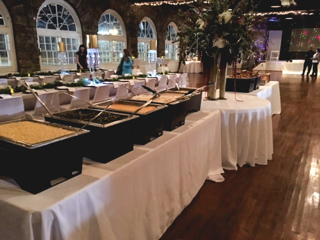 Catering setup at a upscale wedding
